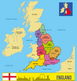 political map of england with regions vector image vector image