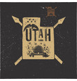 retro utah poster with local symbols usa state vector image