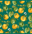 seamless pattern with fruits fresh oranges and vector image vector image
