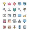 seo optimization and marketing icons set vector image vector image