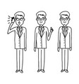 set of businessman with glasses standing vector image