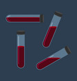 set of different inclined test tube with blood vector image vector image
