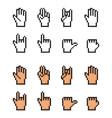 Set of pixel cursor hands Simple and realistic vector image