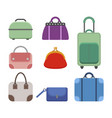 set of women handbags flat color icon of a vector image