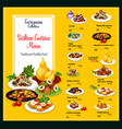 sicilian cuisine traditional food dishes menu vector image vector image