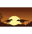 Silhouette of two mapusaurus landscape vector image vector image