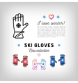 Ski gloves thin line icons winter sports mittens vector image