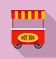 street cart hot dog icon flat style vector image vector image