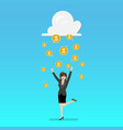 success business woman with cloud and money rain vector image vector image