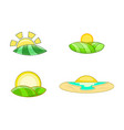 sunrise icon set cartoon style vector image