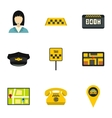 Taxi ride icons set flat style vector image vector image