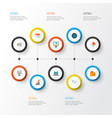 trade icons flat style set with analytics mail vector image