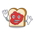 waving bread with jam character cartoon vector image vector image