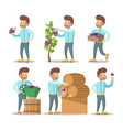 winemaker cartoon with grapes and wine vector image vector image
