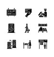 airport terminal black glyph icons set on white vector image vector image