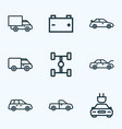 automobile icons line style set with crossover vector image vector image
