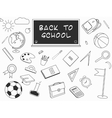 Back to School lineart set Various school stuff vector image