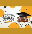 back to school web banner with graduation hat and vector image