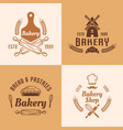 bakery and pastries colored emblems vector image vector image