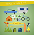 Bright cartoon travel and camping equipment icon vector image