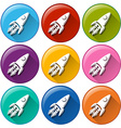 Buttons with rockets vector image vector image