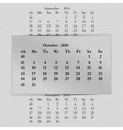 calendar month for 2016 pages October start Monday vector image vector image