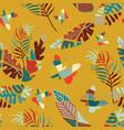 cartoon multicolor flat leaves butterflies vector image