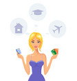cheerful young woman holding credit cards vector image