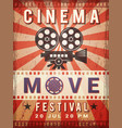 cinema poster vintage design template of video vector image vector image