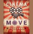 cinema poster vintage design template video vector image