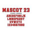 classic college font vintage sport font vector image vector image