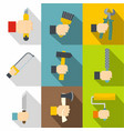 construction works icons set flat style vector image