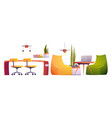 coworking office with table chairs laptop vector image vector image