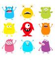 cute monster icon set happy halloween cartoon