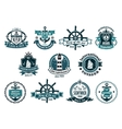Dark blue nautical labels vector image vector image