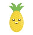 delicious pineapple fruit kawaii character vector image