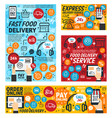 fast food delivery mobile order service vector image vector image