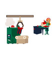 flat elf girl wrapping present box vector image vector image
