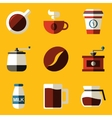 Flat icon set Coffee vector image vector image