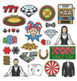 gambling game icons casino roulette chips dice vector image vector image