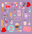 girl fashion symbols stickers patches cute vector image vector image