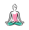 girl sitting in lotus pose yoga fitness logo or vector image vector image