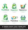 green shop logo template vector image