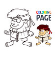 karate martial art cartoon people coloring page vector image vector image