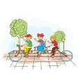 kids on a bike vector image vector image