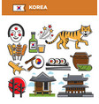 korea travel famous landmarks and korean culture vector image vector image
