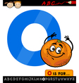 letter o with orange cartoon vector image vector image