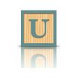 letter U wooden alphabet block vector image vector image