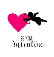 Love Card with Cupid and Heart - Valentines Day vector image