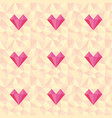 low poly heart pattern seamless love background vector image vector image